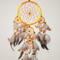 Boho Dreamcatcher Wall Hanging | Orange and Yellow with brown feathers | Vintage Handmade Native American Southwestern Gypsy Bedroom Decor