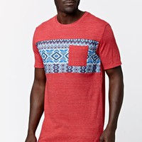 On The Byas Davis Bead Panel Crew T-Shirt - Mens Tee - Red