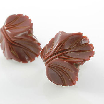 Carved Bakelite Leaf Earrings jewelry, Chocolate Brown Fall Autumn Earrings, Screw back