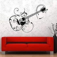 Wall Vinyl Music Guitar Flower Song Singing Guaranteed Quality Decal Unique Gift (z3536)