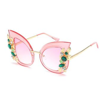 Vazrobe (68g) Rhinestone Sunglasses Cat Eye Pink Women Butterfly Luxury Sun Glasses for Ladies Party Wedding Decoration 2016