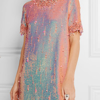 Ashish - Embellished sequined silk-georgette mini dress