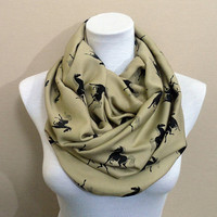 Horse pattern Infinity scarf, Loop scarf, Circle scarf, scarves, shawls, spring - fall - winter - summer fashion