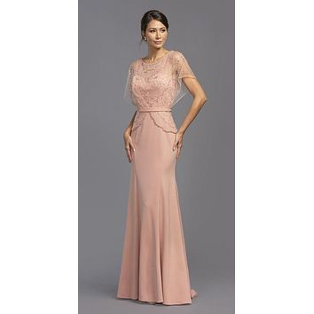 Short Illusion Sleeves Beaded Long Formal Dress Dusty Rose