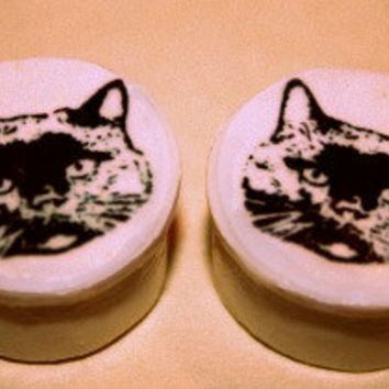 00g Cat lover clay plugs for stretched ears by p1ush on Etsy