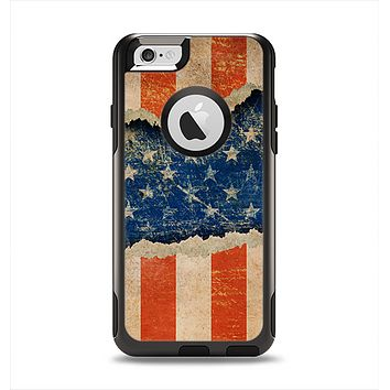 The Scratched Surface Peeled American Flag Apple iPhone 6 Otterbox Commuter Case Skin Set