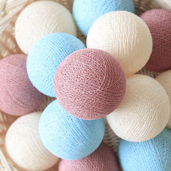 Pastel Rosy Brown Cream Blue 20 Handmade Cotton Ball Patio Party String Lights – Fairy, Wedding, Holiday, Home Décor