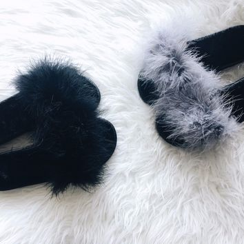 Fashion Women's Fur Fluffy Slides Marabou Mules Sliders Feather hairy Slippers