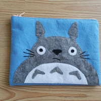 Grey Totoro Zip Purse, Makeup Bag, Coin Purse, Small Accessory Pouch, FREE SHİPPİNG Studio Ghibli inspired