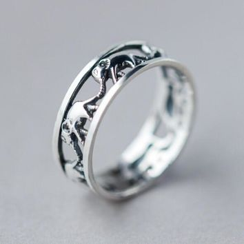 Cute Hollow Out Elephant Ring