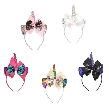 5pcs/lot Glitter Sequins Baby Girls Cat Ear Unicorn Hairband Reverse Flap Mermaid Headbands Hair Accessories For Kids Kidocheese