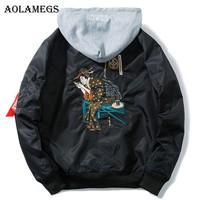 Aolamegs Bomber Jacket Men Japanese Embroidery Hooded Plus Size Men's Jacket Hip Hop Outwear Autumn Men Coat Baseball Jackets