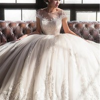 [208.99] Lavish Tulle & Satin Bateau Neckline Ball Gown Wedding Dresses With Lace Appliques - dressilyme.com