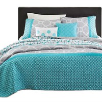 Twin / Twin XL Size Aqua Geometric Blue / Gray Coverlet Set