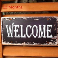 "High Quality 100% 4 clines  ""Welcome"" CCcam Retro Metal painting Plaque Vintage Bar Cafe Decor 15x30CM Free shipping"