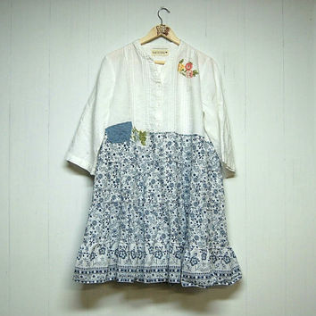 XL Boho Chic Upcycled Dress, Artsy Shabby Chic Dress, Linen and Cotton Lagenlook, Eco Friendly, Anthropologie Inspired