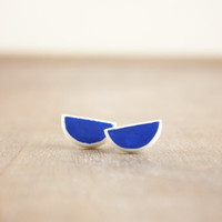 Contemporary semi circle minimalistic clay earrings, royal blue moon studs