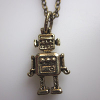 Little Robot Friend. Robot Necklace by lovespelljewels