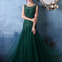 Forest Green Elegant Mermaid Fitted Lace Formal Evening Prom Dress | X033