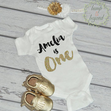 Baby Girl First Birthday Outfit Girl Bodysuit, Headband, Moccasins - Black and Gold Birthday Shirt Personalized One Year Old Girl Outfit