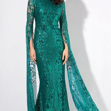 Major Drama Green Sheer Lace Glitter Extra Long Sleeve Mock Neck Bodycon Maxi Dress