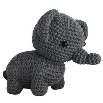 Dark Gray Elephants Handmade Amigurumi Stuffed Toy Knit Crochet Doll VAC