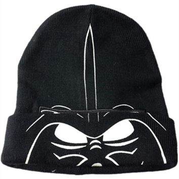 Star Wars Stormtrooper Knitting Cotton Beanie Cap Plush Winter Warm Darth Vader Hat Cosplay mask Beanies fit for adult Children