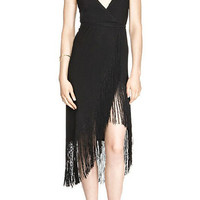 Black Sleeveless V -Neckline Tassel Trim Asymmetrical Dress