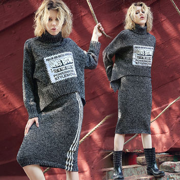 Pullover Sweater Autumn Knit Tops Dress Irregular Bottom & Top [8431754253]