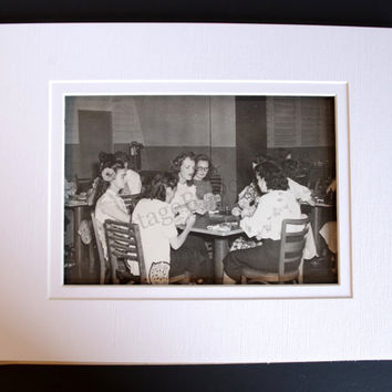 Vintage Photograph, 1940's Women Playing Cards, 8X10 Black & White Photo Print, Navy Wives Bridge Club Photograph, Suitable For Framing