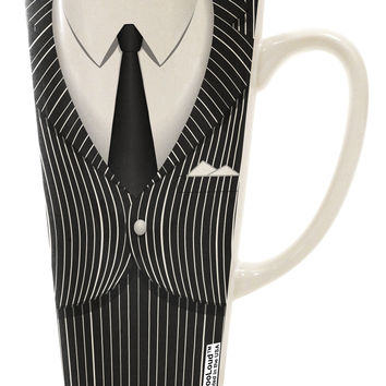 Pinstripe Gangster Jacket Printed Costume 16 Ounce Conical Latte Coffee Mug All Over Print