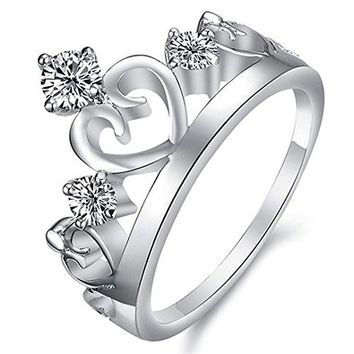 MP Crown Shape Diamante Embellishment Design Rhodium Plated Ring JDP 0618