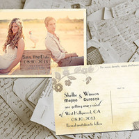 "50 Wedding Save The Date Cards - HangingGarden Vintage Lace Photo Personalized 4""x6"""