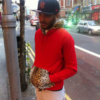 Red Hooded Leopard Print Fur Faux Sweater Hoodie