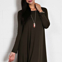 Solid Knit Jersey Dress in Olive