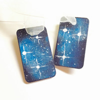 Gift Tags, Hand Painted Wooden, Outer Space Theme, Scrapbooking Supplies