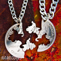 Four Wheeler necklace, motocross couples, Guys jewelry, extreme couples Interlocking Relationship quarter, hand cut coin