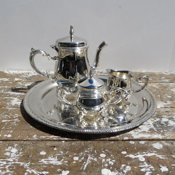 Children's Silverplate Tea Set Childs Tea Set Toy Tea Tea Service