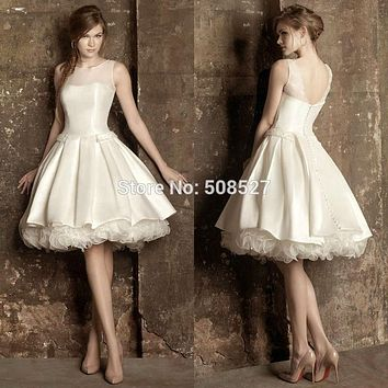Vestido De Noiva 2017 Custom Made Robe De Mariage Sheer Neck Satin Organza Short A-Line Wedding Dress Ruffles Bridal Gowns