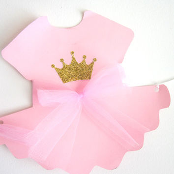 Princess Baby Shower Banner, Princess Baby Shower, Princess Birthday Banner, Pink and Gold Banner - Tutu Onesuit