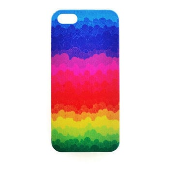 iPhone 5 Case Cute Watercolor Rainbow iPhone 5 s Cover Case iPhone Hard Cover Retro Phone 5 Back Cover Color Circle Pattern