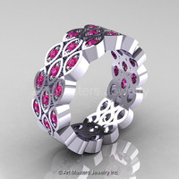 Art Masters Classic 14K White Gold Pink Sapphire Womens Wedding Band R272BF-14KWGPS