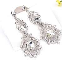 Fashion Big long Blue crystal drop earrings for women vintage flower silver plated bride Earrings wedding Jewelry accessories
