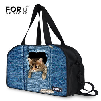FORUDESIGNS Cute Cat Dog Print Female Duffle Bag Women Luggage Travel Bag Canvas Large Capacity Luxury Travel Duffel Tote Bags