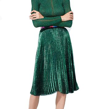 2016 Autumn Gold Sequined Women Skirts Vintage Green Midi Skirts Womens Retro Elegant Pleated Skirt