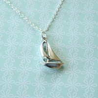 Sterling Silver Sailboat Necklace by TwoLittleDoves on Etsy
