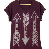 Tri Arrows - Oversized Hand Stenciled Slouchy Deep Scoop Neck Boyfriend Fit Women's T-Shirt in Burgundy and Cream - Free Size