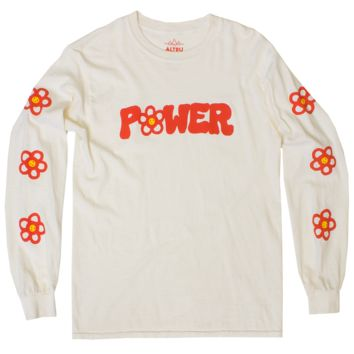 Flower Power long sleeve natural graphic tee