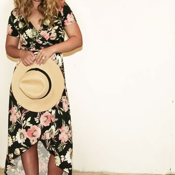 """Sophie"" Hi-Low Tropical Floral Maxi Dress"