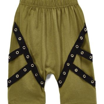 Olive & Black Strap-Trim Army Shorts - Infant & Toddler